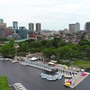 Aerial Boston Downtown park scene 4k 60p