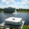 Aerial slow motion video of a business commerce park fountain