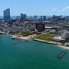 Aerial drone video Oscar E McClinton Junior Waterfront Park