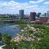 Aerial drone video James River Downtown Richmond Virginia 4k