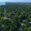 Evanston with view of Downtown Chicago aerial 4k