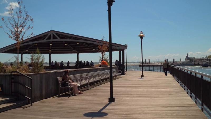 Waterfront scene at J. Owen Grundy Park Jersey City