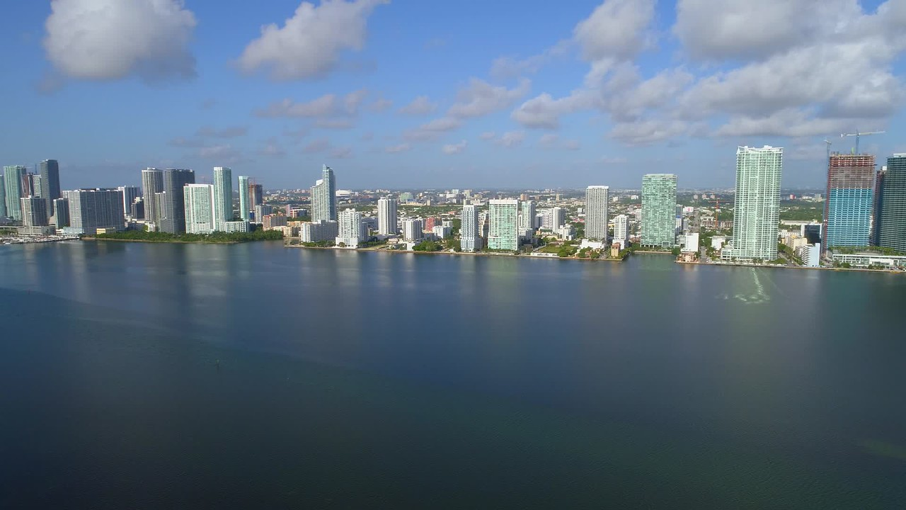 Aerial drone video Edgewater Midtown Biscayne Bay Miami