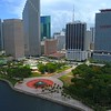 Aerial drone video rising above Downtown Miami 4k