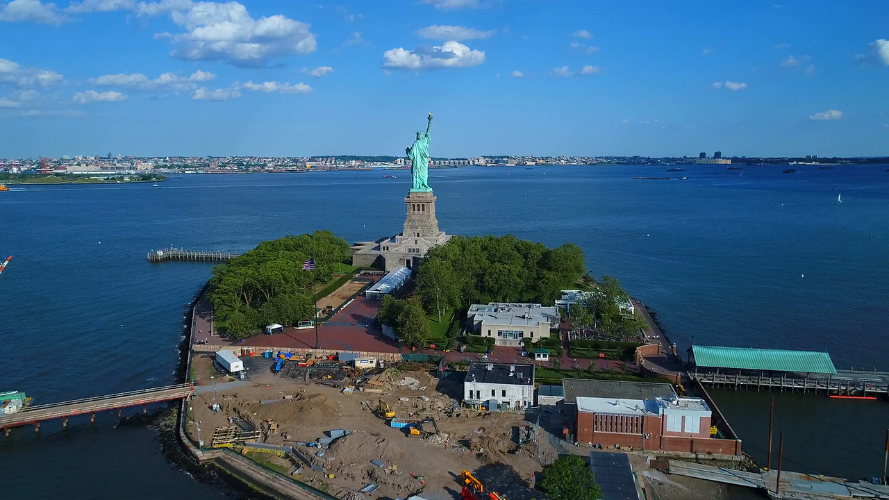 Aerial drone video Statue of Liberty 2017 makeover facelift construction