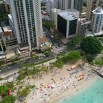 Aerial footage Waikiki Beach