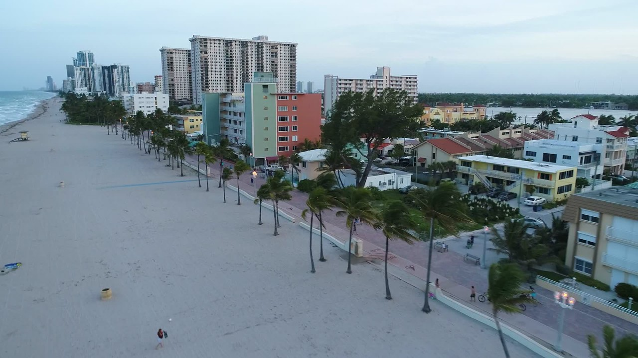 Stock video Hollywood Beach FL 4k 60p aerial drone