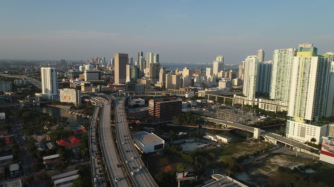 Helicopter over Downtown Miami