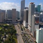 Aerial video of urban Downtown Miami