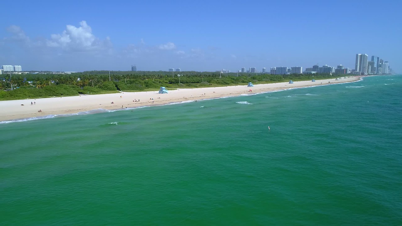Aerial establishing shot Haulover Beach FL