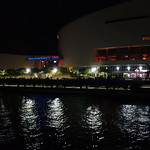 American Airlines Arena aerial drone video night 4k 24p