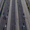 Aerial above highway lanes