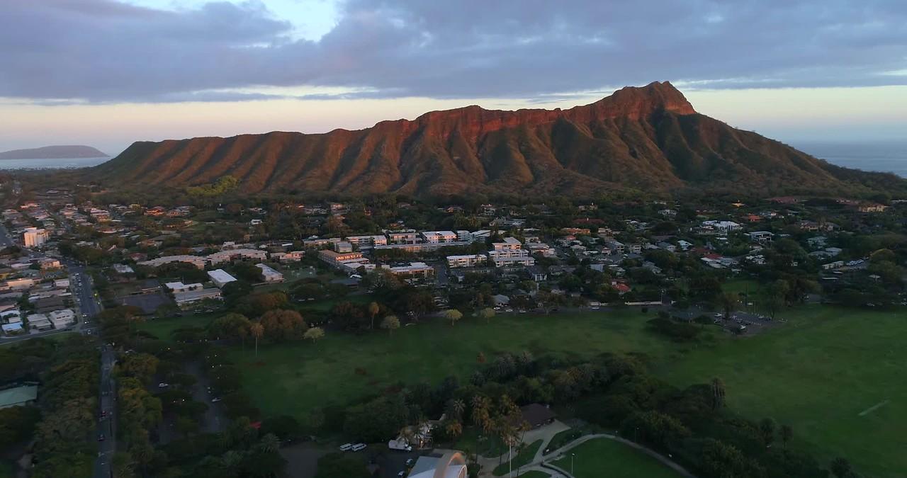 Aerial footage Diamond Head Honolulu Hawaii 4k 60p