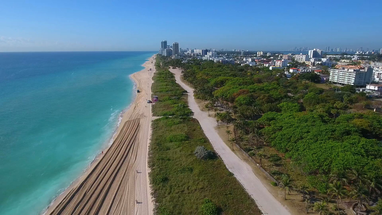 Aerial miami beach phantom 4 drone