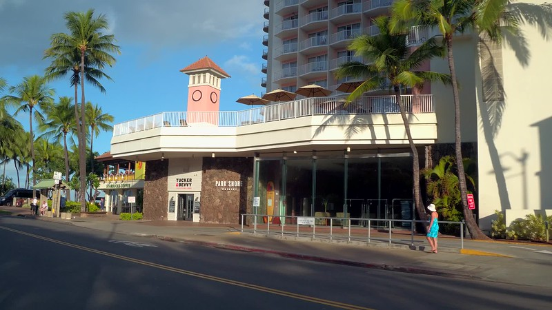 Stock video of Starbucks Coffee on Waikiki BEach