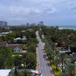 Aerial drone shot of Luxury mansions in Golden Beach FL