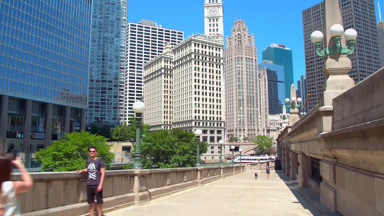 Motion shot Chicago city scene