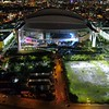 Drone Marlins Park Miami at night