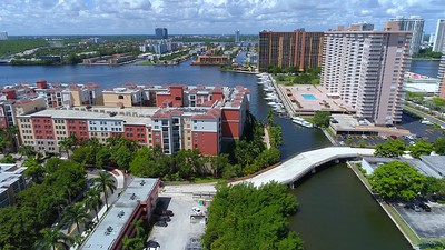 Aerial video North Bay Road Bridge Sunny Isles Beach