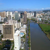 Aerial footage of Ala Wai Canal and Honolulu Hawaii cityscape