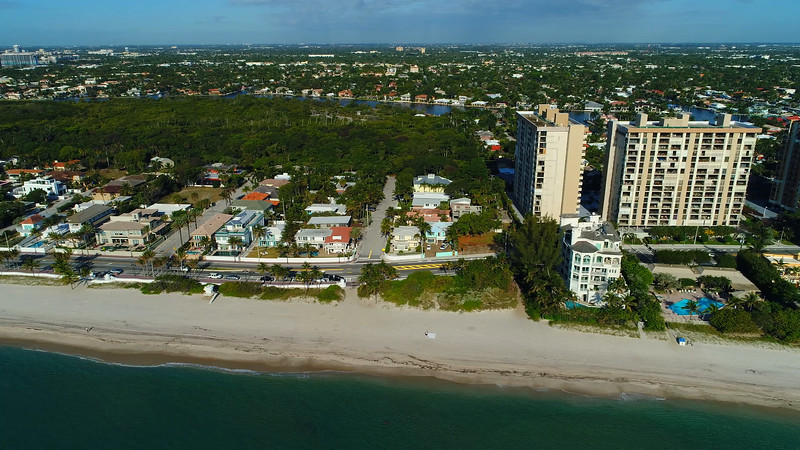 Aerial drone footage video of beachfront homes in fort lauderdale