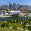 Establishing drone video of Downtown Miami 4k 24p prores