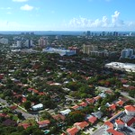 Aerial video residential homes Coral Gables Miami FL 4k