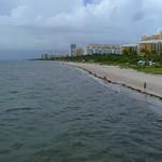 Low aerial video Key Biscayne Beach 4k
