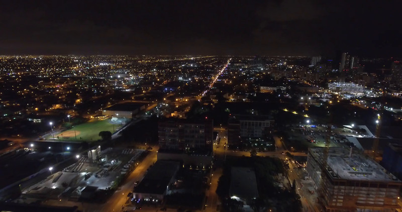 Night aerial Downtown Miami 4k video