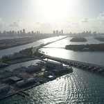 Aerial sunset over Miami Biscayne Bay 4k 60p