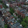 Aerial video of a residential neighborhood in Boston Cambridge 4k