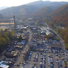 Aerial video tour Gatlinburg Tennessee lookout tower