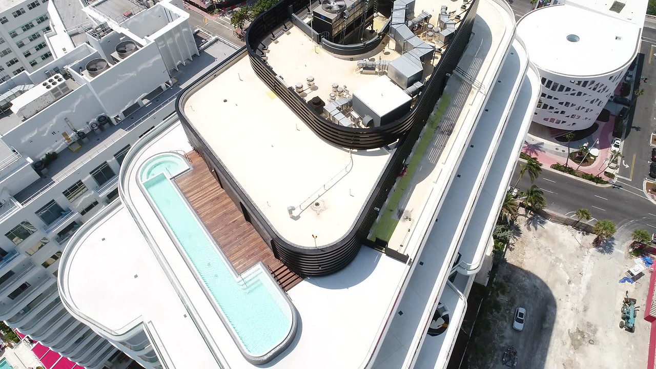 Aerial video Faena House rooftop pool