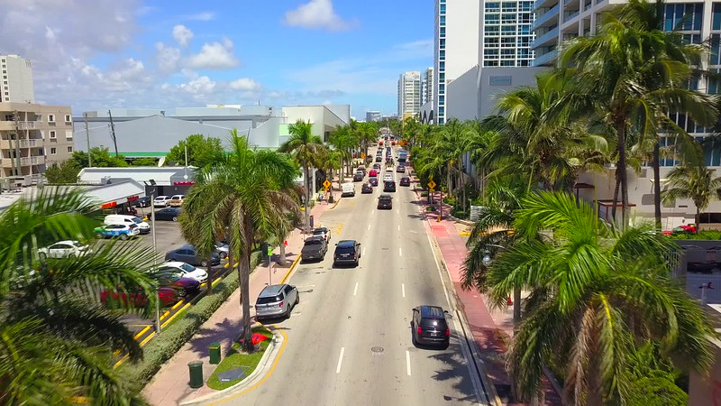Miami beach flying over Collins Avenue