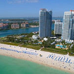 Flying by Miami Beach condominiums