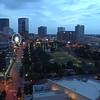 Aerial video Centennial Olympic Park and Skyview Atlanta Georgia