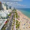 Aerial video crowded Fort Lauderdale Beach 4k