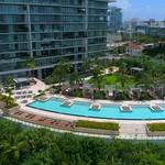 Aerial video Apogee Condominium Miami Beach swimming pool 4k 60p