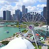Aerial drone shot Chicago Navy Pier Downtown 4k 60p