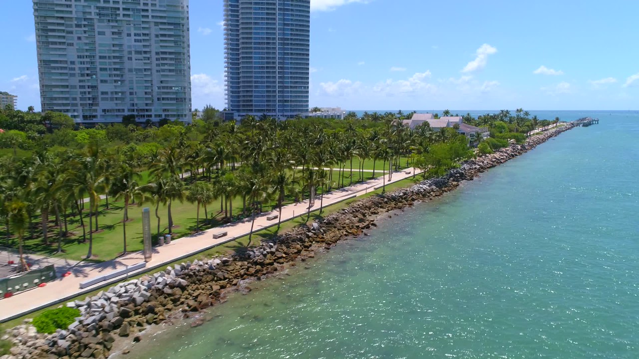 Aerial pov South Pointe Park Miami Beach drone video 4k 60p