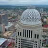 Aerial drone video Mercer Building top Downtown Louisville KY