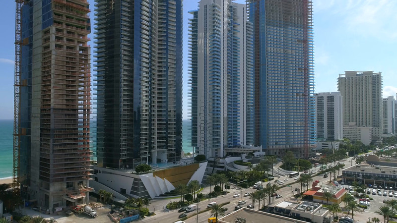 Aerial video Beachfront condos in Sunny Isles