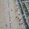 Facing down aerial shot of Fort Lauderdale Beach