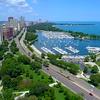 Aerial video Belmont Harbor Chicago 4k