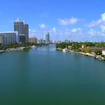Aerial drone establishing shot of Miami Beach 4k 60p