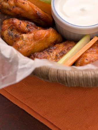 chicken buffalo wing with blue cheese sauce