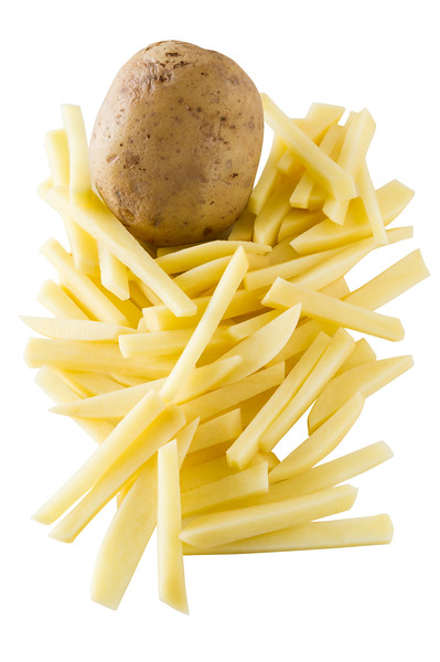 Fresh potato vegetable cutted to cook french frie. Isolated on white with clipping path.