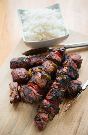 Beef kebab and rice
