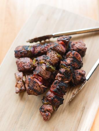 beef kebab on wood
