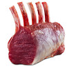 Raw rack lamb meat isolated on a white background with clipping path. Shallow depth of field.